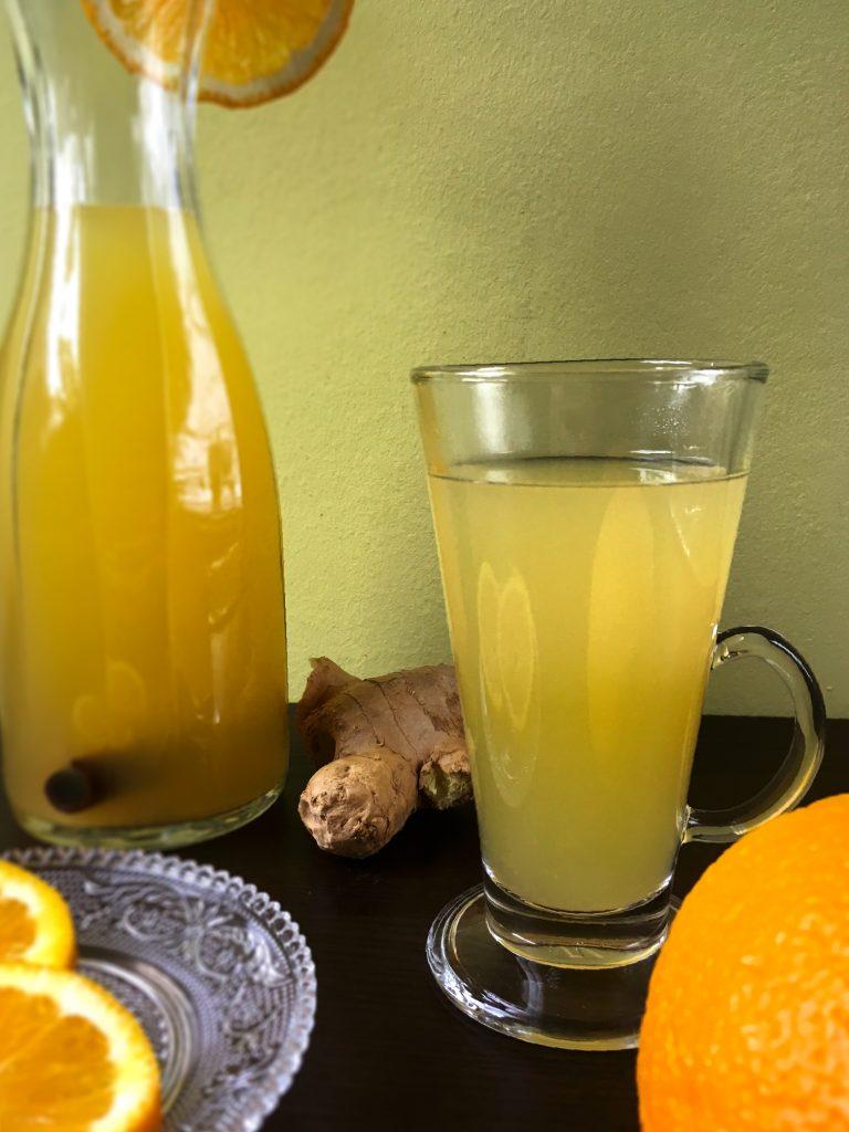 Warm apple drink with orange
