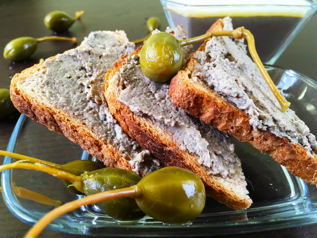 Chicken liver pate with capers