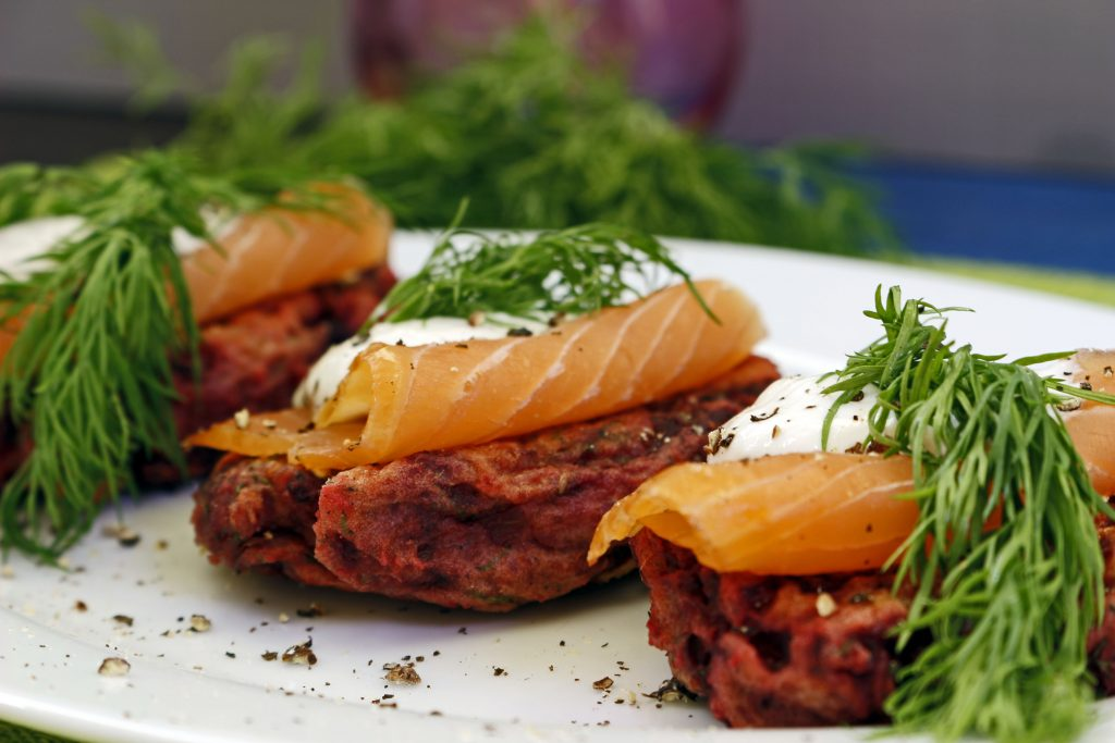 Beetroot and potato cakes