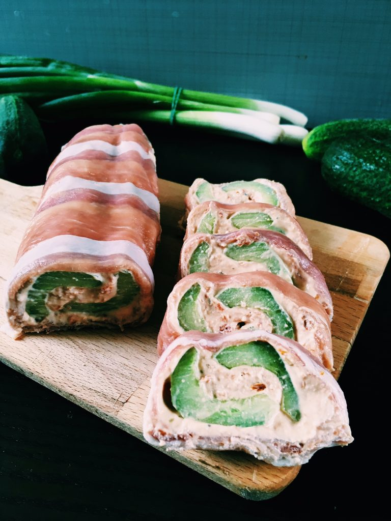 Cucumber and Parma ham roulade