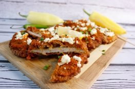 Pork chops with feta cheese