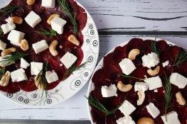 Beetroot and feta cheese carpaccio
