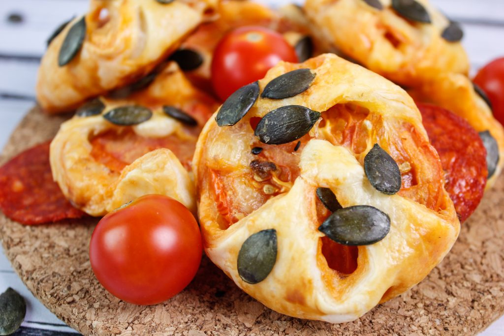 Puff pastry pepperoni snacks