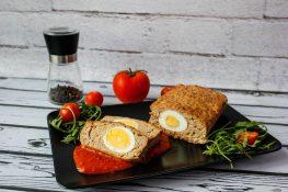 Meatloaf with boiled egg