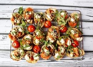 Italian bruschetta with cherry tomatoes and balsamic vinegar