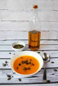 Carrot soup with roasted pumpkin seeds