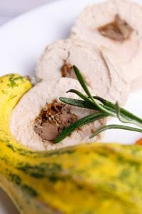 Liver and pumpkin stuffed chicken breast