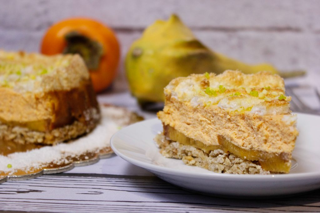 Pumpkin cheesecake with persimmon