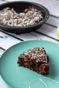 Chocolate vegan cake with apples