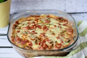 Zucchini and tomato bake with cheese and basil