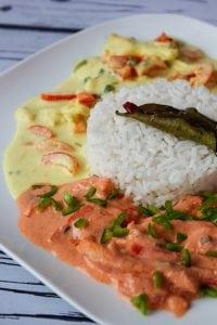 Kurczak z dwoma sosami: pikantnym i curry