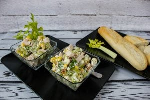 Waldorf salad with chicken ham