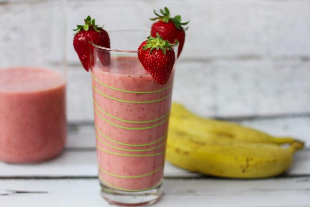Banana and strawberry milk shake with almond milk