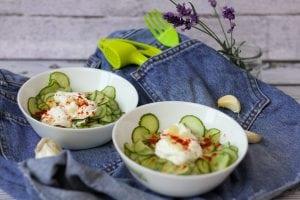 Fresh cucumber salad with cream and garlic