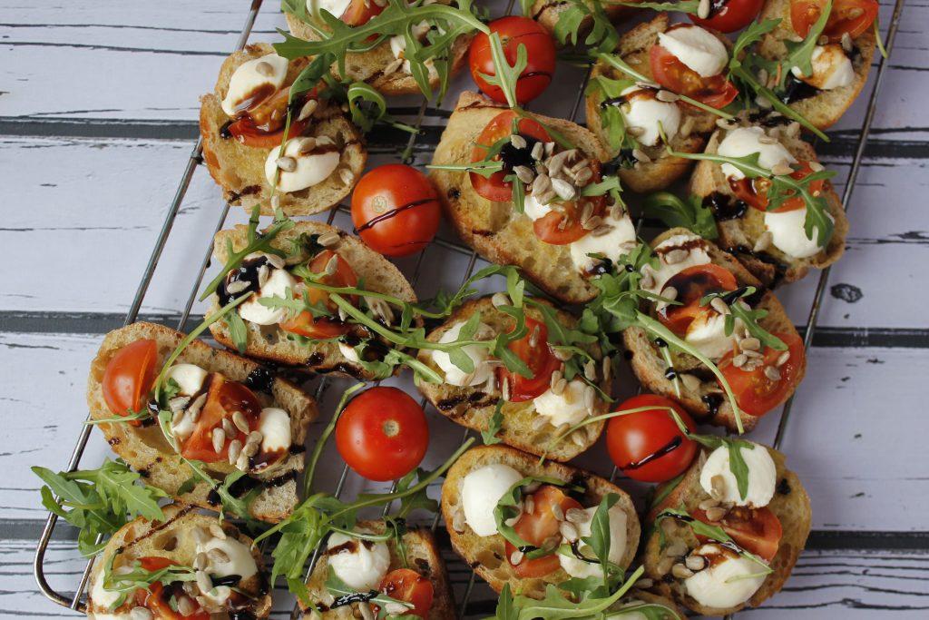Bruschetta with tomatoes and mozzarella