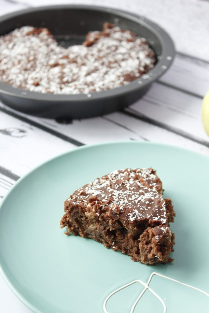 Vegan chocolate cake with apples