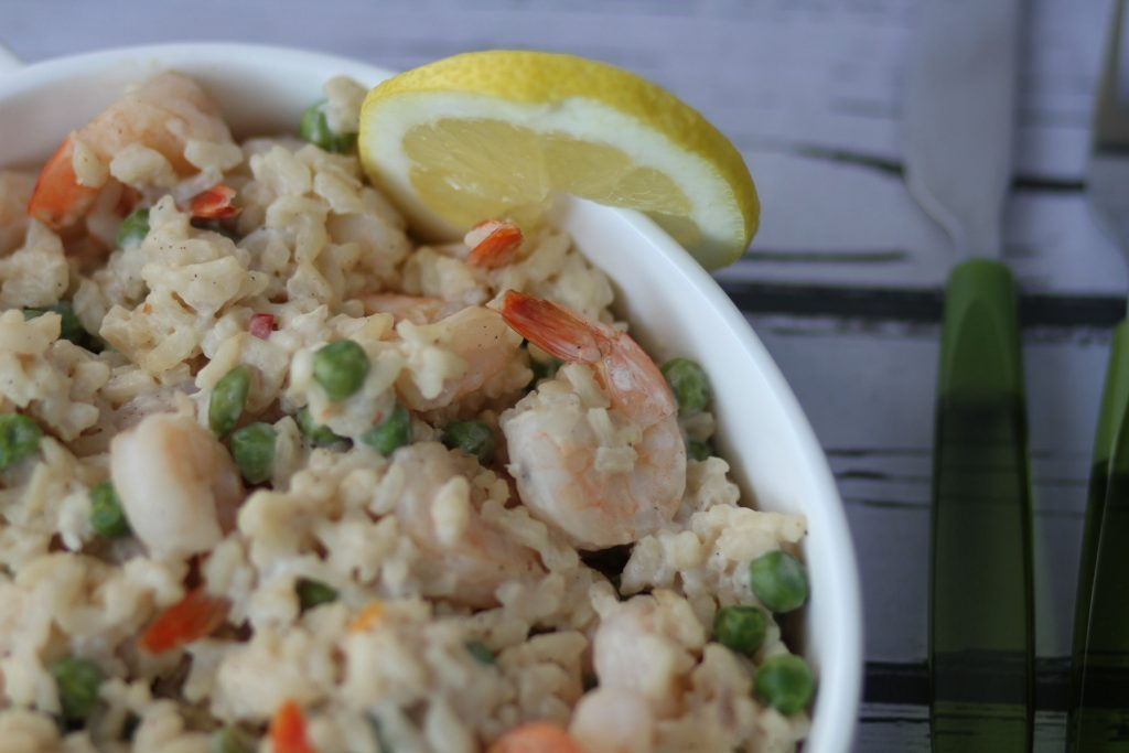Prawn risotto with green peas