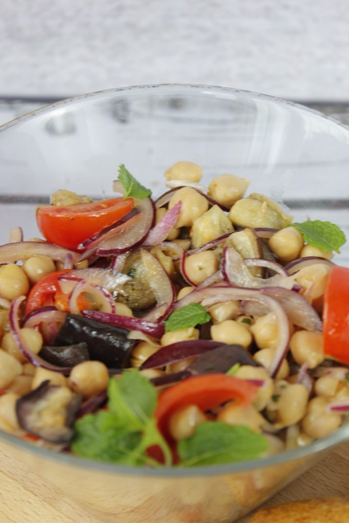 Eggplant, chickpea and tomato salad