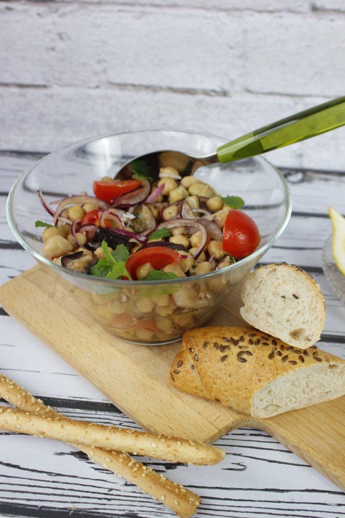 Eggplant, tomato and chickpea salad