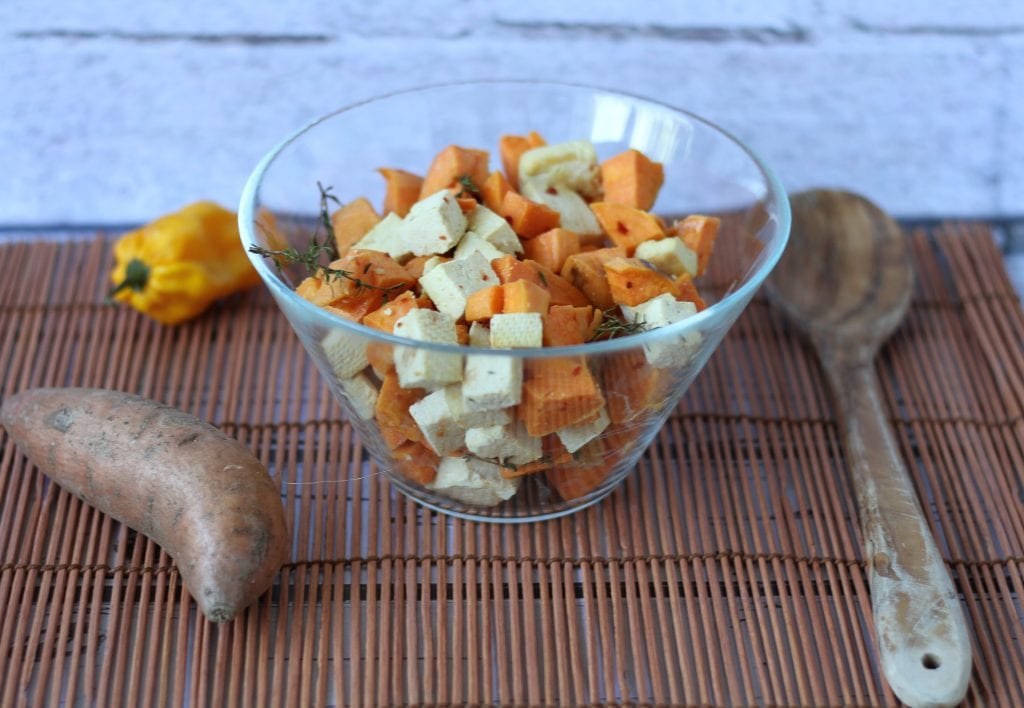 sweet potatoes and tofu cheese