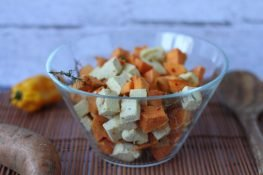 Sweet potatoes baked with tofu