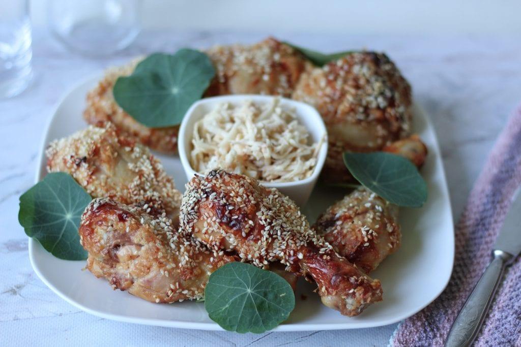 Chicken drumsticks in peanut butter marinade