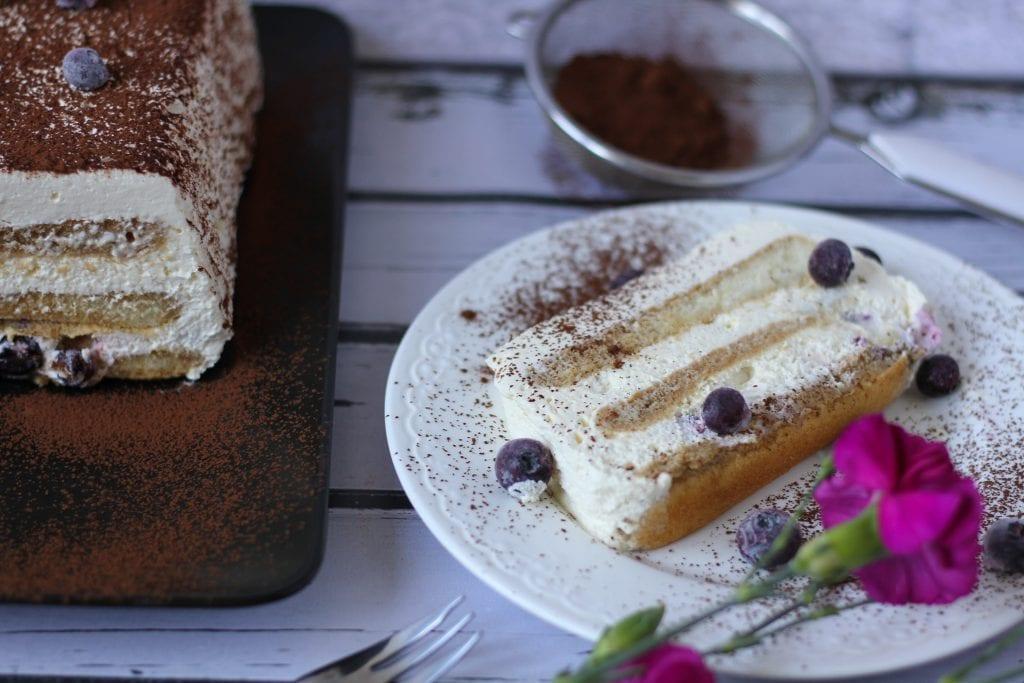 Italian tiramisu cake with blueberries