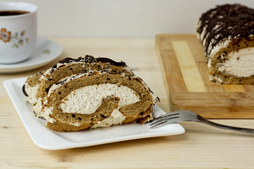 coffee Swiss roll with coffee cream