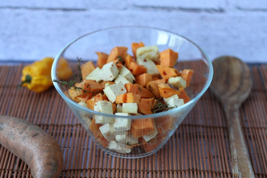 Sweet potatoes baked with tofu