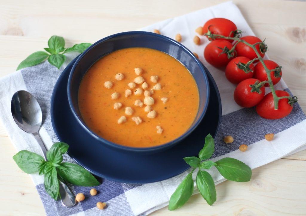 Tomato and zucchini soup with fresh basil
