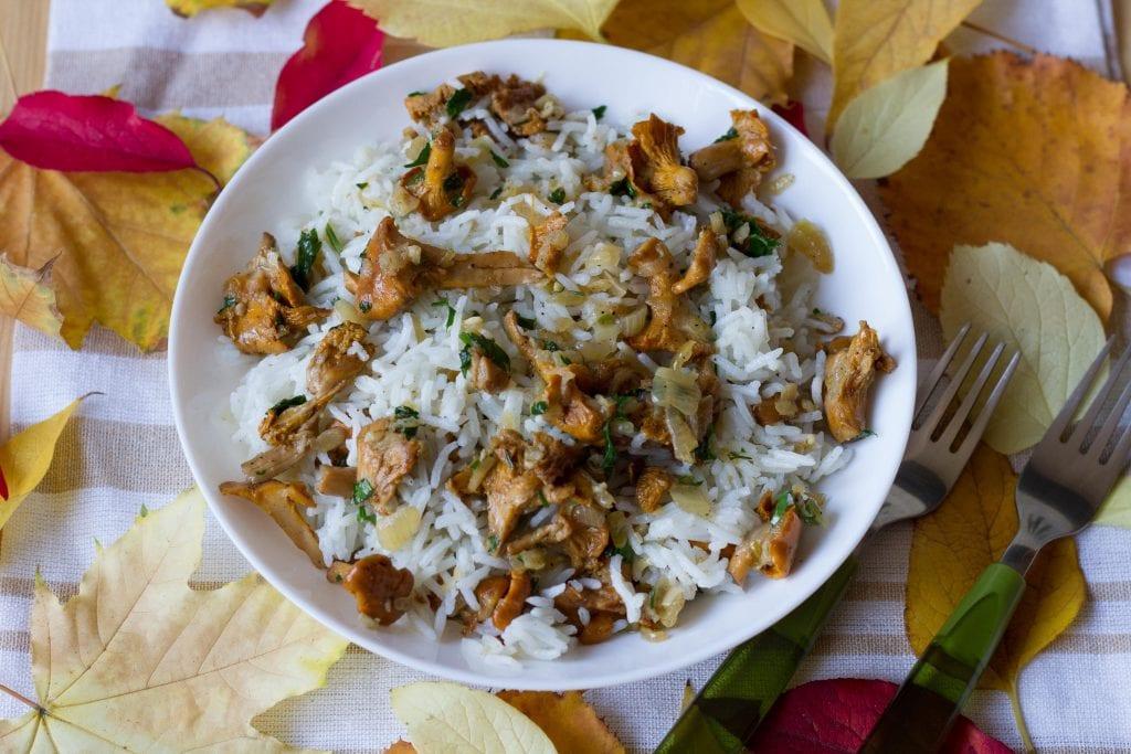 Ryż z grzybami kurkami