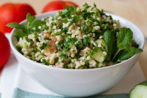 Tabbouleh with mint, tomato and cucumber