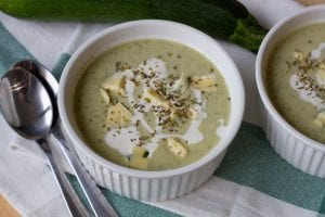 Tasty zucchini cream soup with oregano and blue cheese