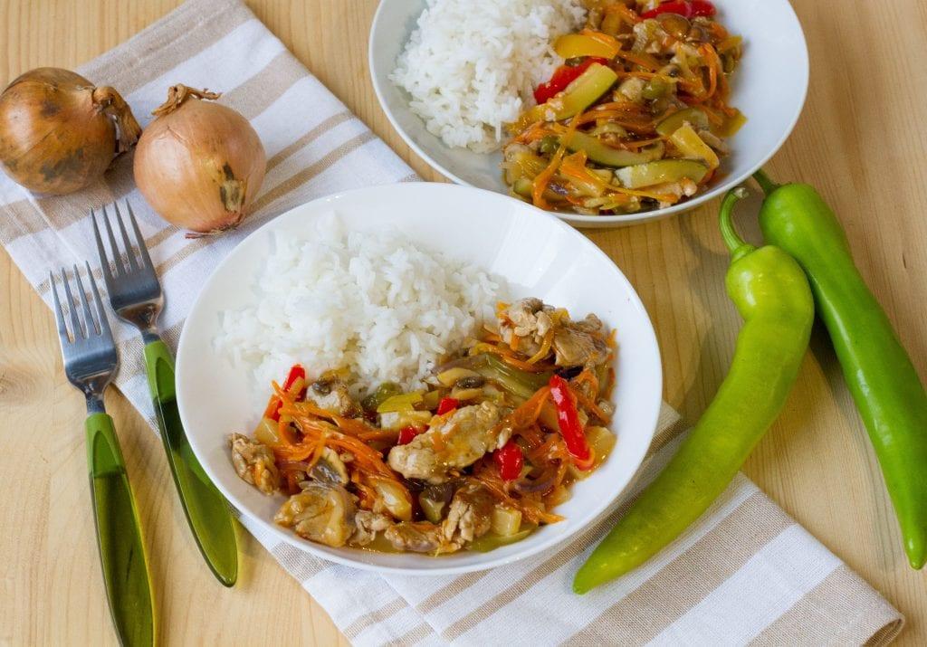 Polędwiczka w sosie słodko-kwaśnym z ryżem