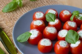 Cherry tomatoes stuffed with feta