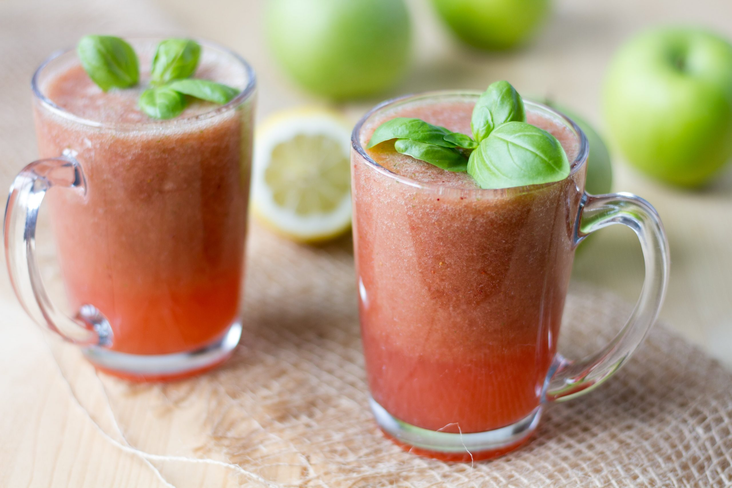 Strawberry and cucumber cocktail with apple