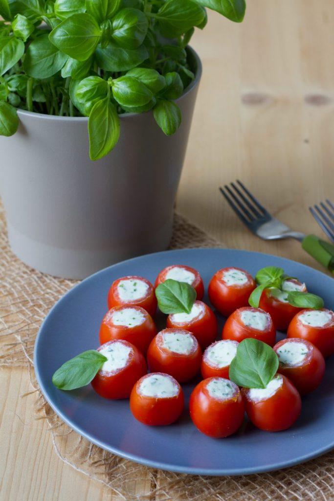 Cherry tomatoes stuffed with feta cheese