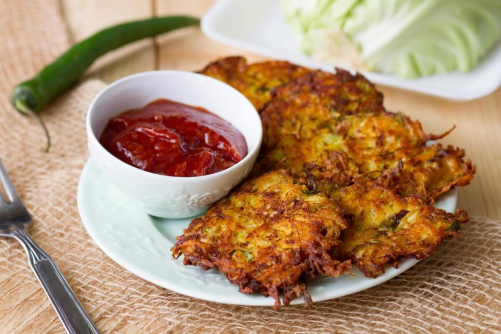 Cabbage and sweet potato fritters