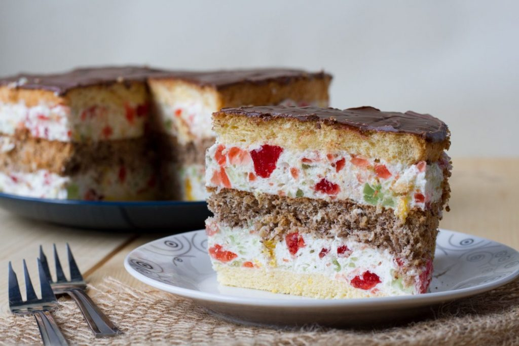 Kaleidoscope cake with walnut sponge and cream