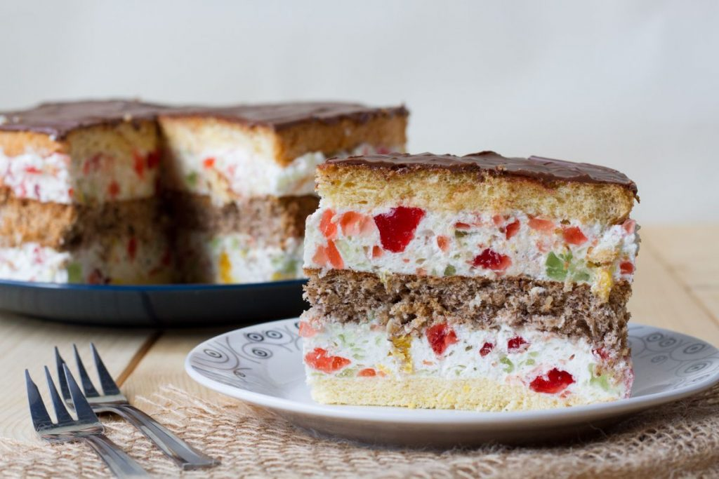 Kaleidoscope cake with whipped cream