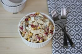 Herring salad with sweetcorn and peppers