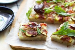 Gluten-free pizza with Parma ham and figs
