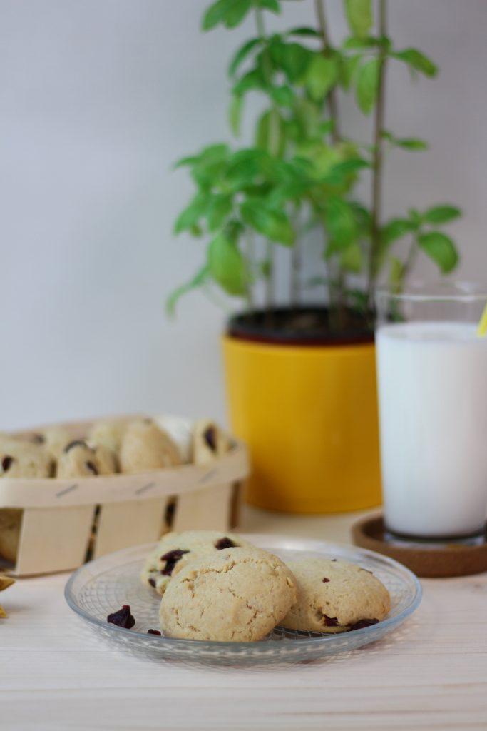 Macadamia cookies with cranberries